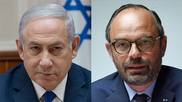 Prime Minister Netanyahu; French Prime Minister Philippe (Photos: Yoav Dudkevitch, AFP)