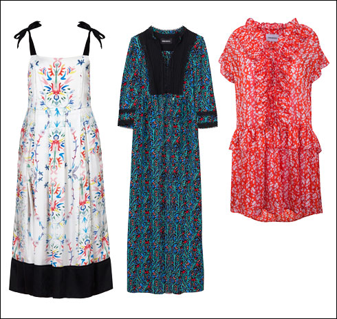 שמלה פרחונית קצרה, 750 שקל; שמלת מקסי, 1,690 שקל; שמלה עם כתפיות, 1,290 שקל (צילום: עדי גלעד, שי נייבורג)