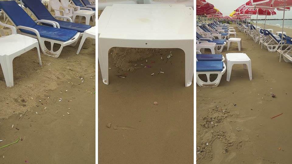 Окурки на пляже в Бат-Яме. Фото: Нина Царевская