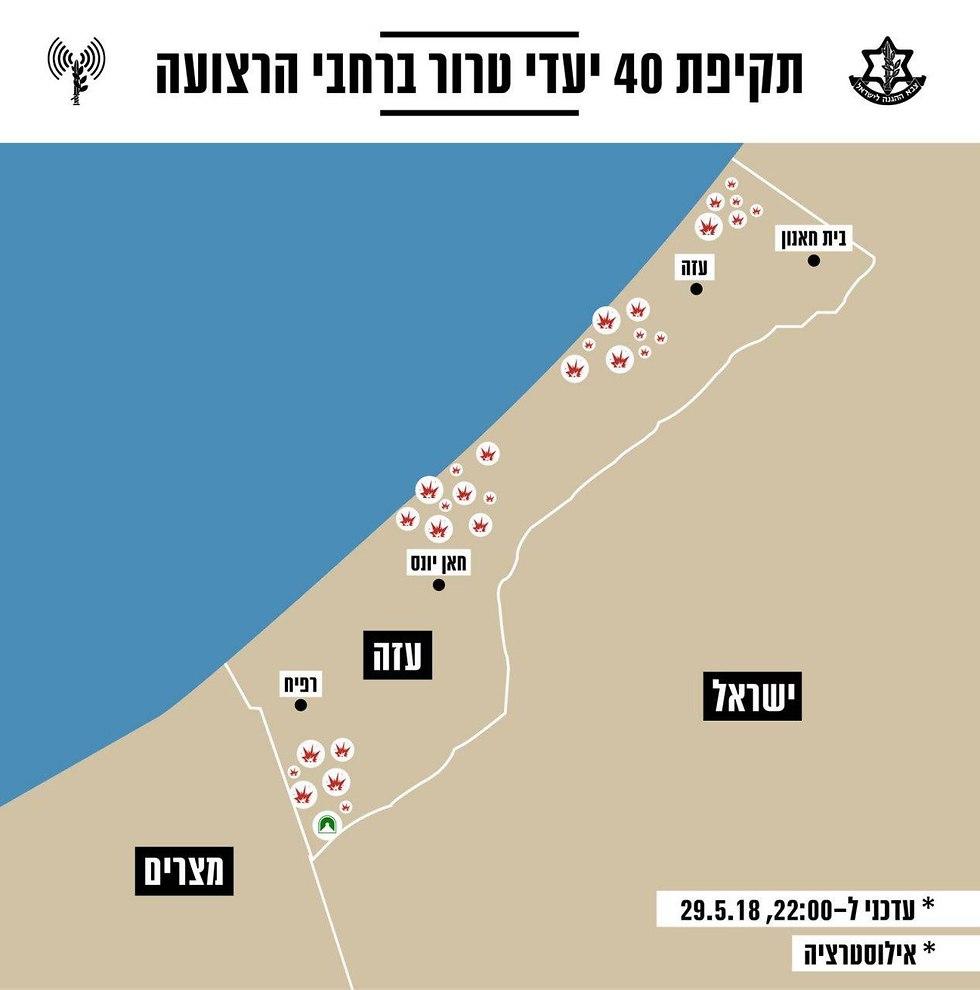 40 היעדים שהותקפו בעזה על ידי צה