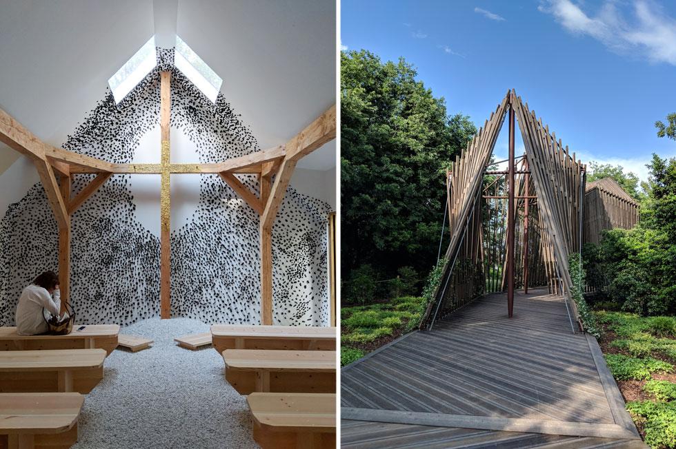 מימין: קאפלת העץ שתכנן נורמן פוסטר, בהשראת אוהל ועם תרנים בצורת צלב; החלל המרשים שיצר טרונובו פוג'ימורו היפני (צילום: מנור בראון)