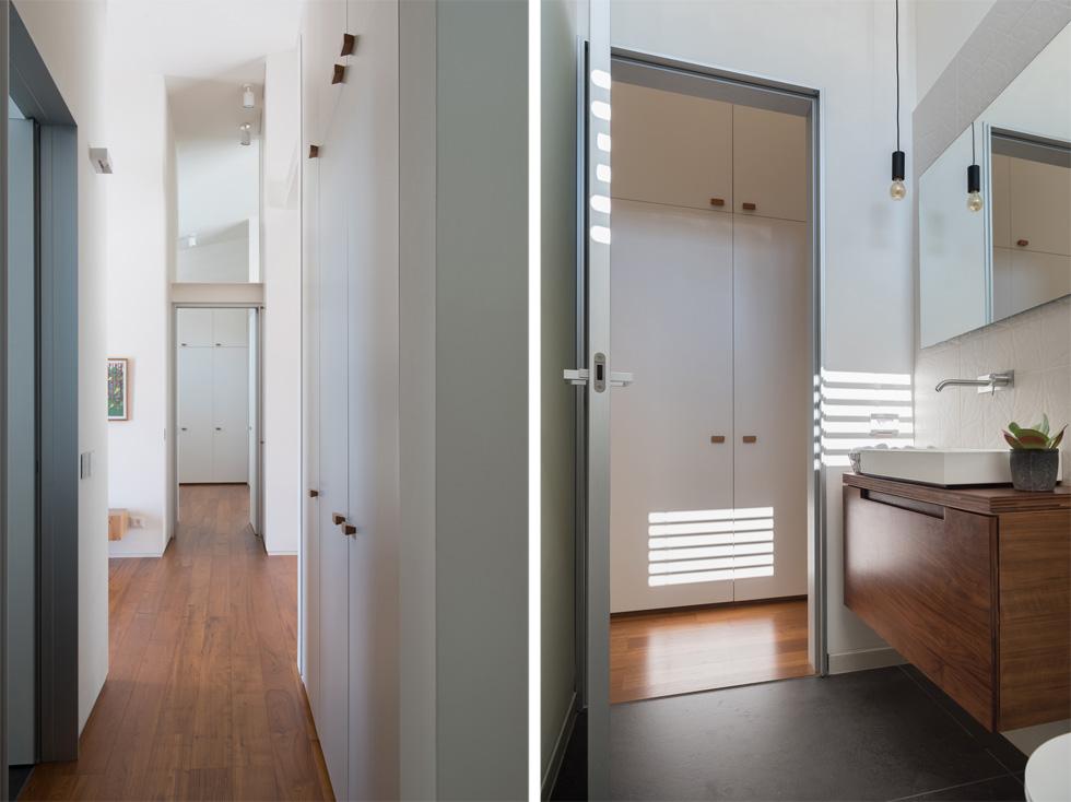 """מימין: חדר הרחצה הזוגי נסתר גם כשדלתות חדר השינה פתוחות. משמאל: המסדרון אל החלק המוצנע של הבית, שבו חדר אורחים וחדר כביסה שהוא גם הממ''ד. """"למדנו המון דברים בבנייה הקודמת"""", מסכמת בעלת הבית. """"בזכותם הצלחנו עכשיו לבנות את הבית המדויק לנו""""  (צילום: גלית דויטש)"""