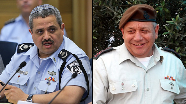 Police Commissioner Alsheikh (L) and IDF Chief of Staff Eisenkot. Two new bills seek to regulate term limits on their positions (Photo: Alex Kolomoisky, Yariv Katz)