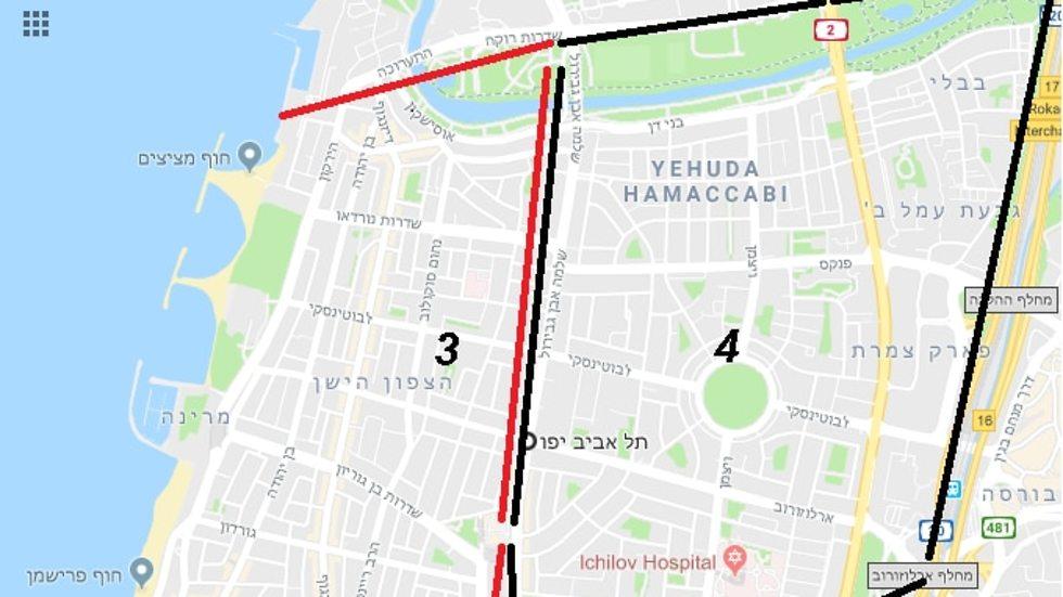 מפת הרובעים 3 ו 4, תל אביב ()