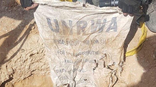 UNRWA bag found in terror tunnel (Photo: IDF Spokesmans unit)