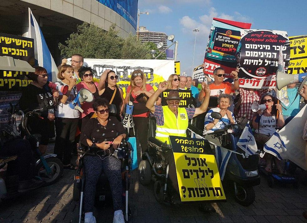 הפגנה של הנכים בתל אביב (צילום: אמיר אלון)