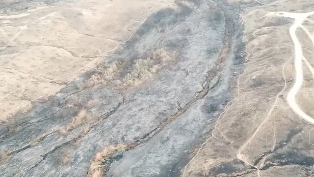 Aerial footage of the Besor Stream after a fire (Photo: Boaz Freifeld, Nature and Parks Authority)