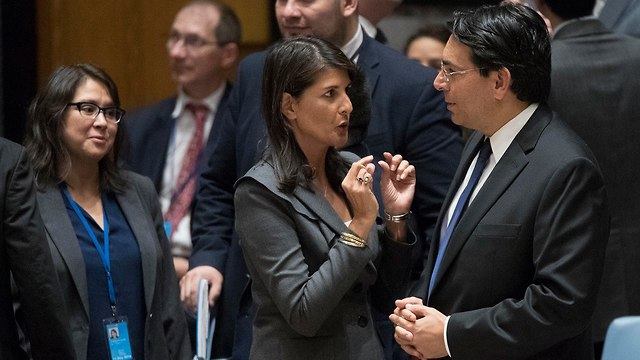 US Ambassador to the UN Nikki Haley and Israel's Ambassador to the UN Danny Danon (Photo: AP)