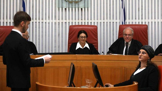 Panel of nine justices headed by HCJ President Esther Hayut (Photo: Ohad Zwigenberg)