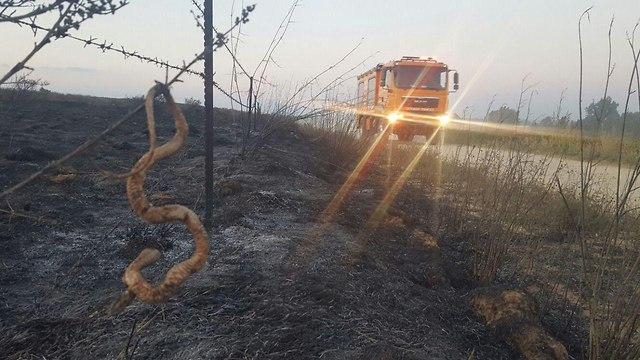 שריפה ליד קיבוץ אור הנר (צילום: אמנון סופר ומנדי ריזל רדיו דרום )
