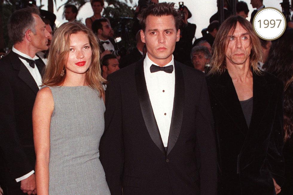 הזוג הלוהט של שנות ה-90: ג'וני דפ עם קייט מוס. מציץ מימין: איגי פופ (צילום: AP)