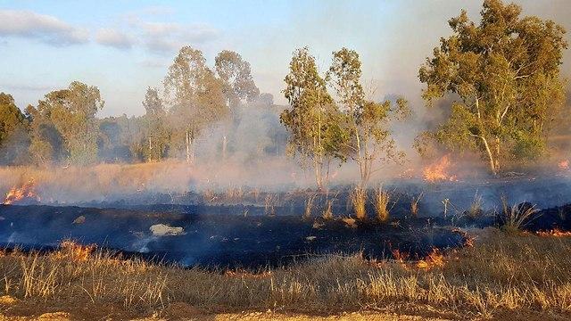 שריפה קיבוץ בארי  (צילום: רועי עידן)