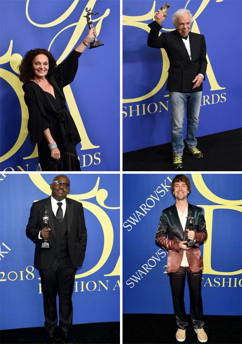 ברשימת הזוכים, מימין למעלה עם כיוון השעון: ראלף לורן, סנדר לאק, אדוארד אנינפול, דיאן פון פרסטנברג (צילום: Dimitrios Kambouris/GettyimagesIL, AP)
