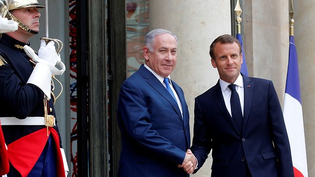 Netanyahu with French President Emmanuel Macron on Tuesday (Photo: Reuters)