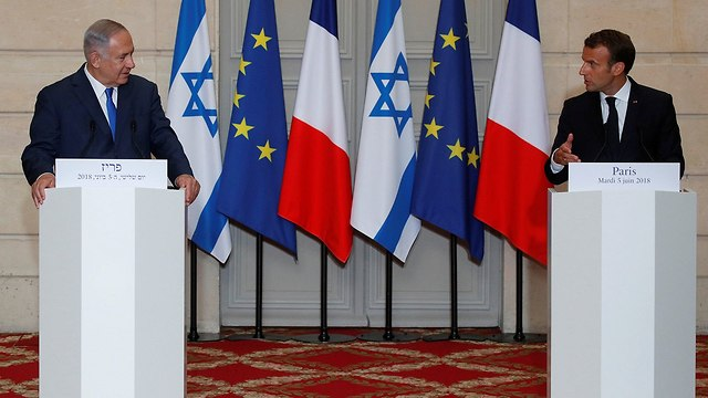 PM Netanyahu and President Macron in joint press conference (Photo: Reuters)