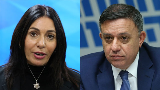 Avi Gabbay and Miri Regev (Photo: Alex Kolomoisky)
