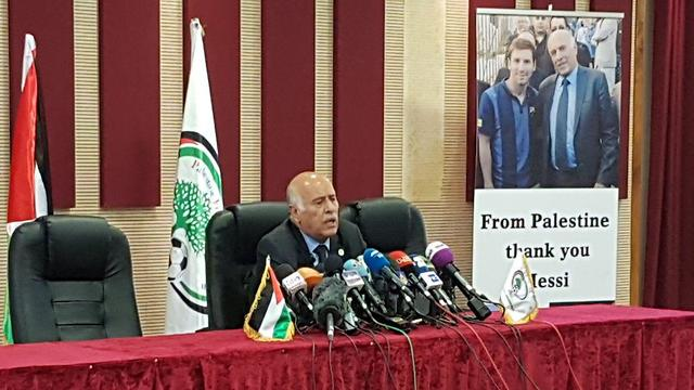 Jibril Rajoub at Wednesday's press conference