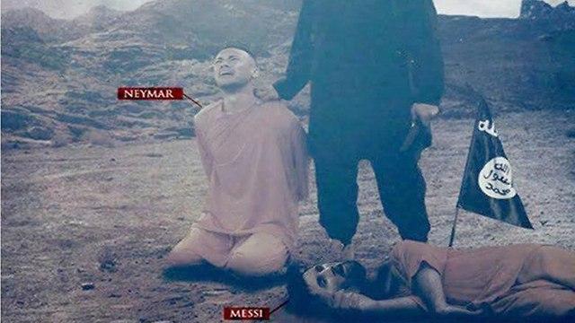 כרזת דאעש עם מסי וניימאר: ״אתם לא תהנו מביטחון עד שנחייה במדינות מוסלמיות״, אוקטובר 2017 ()