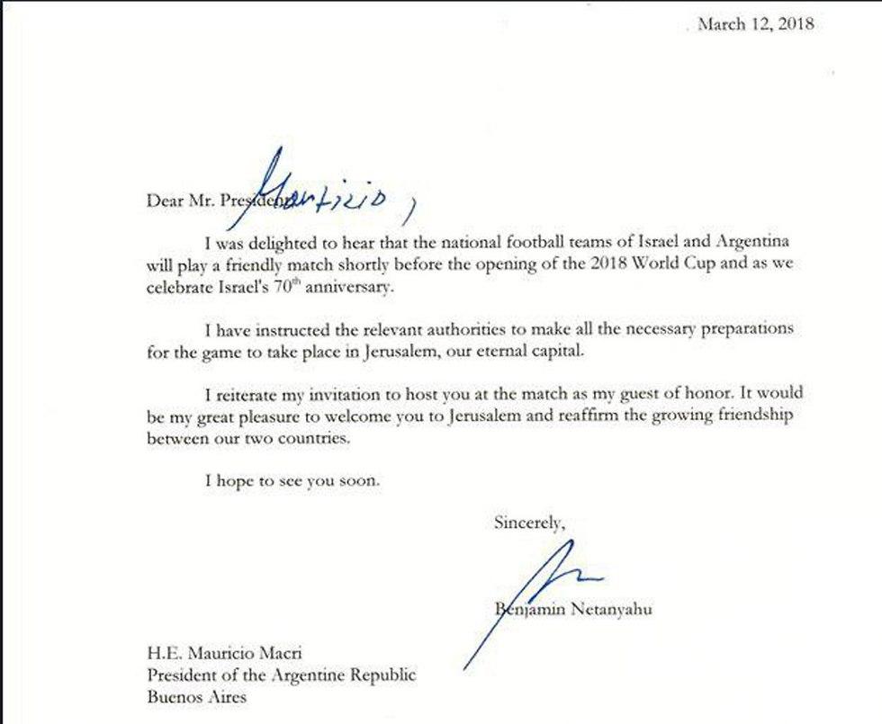 מכתב מבנימין נתניהו למאוריסיו מאקרי מ12.3.2018 ()