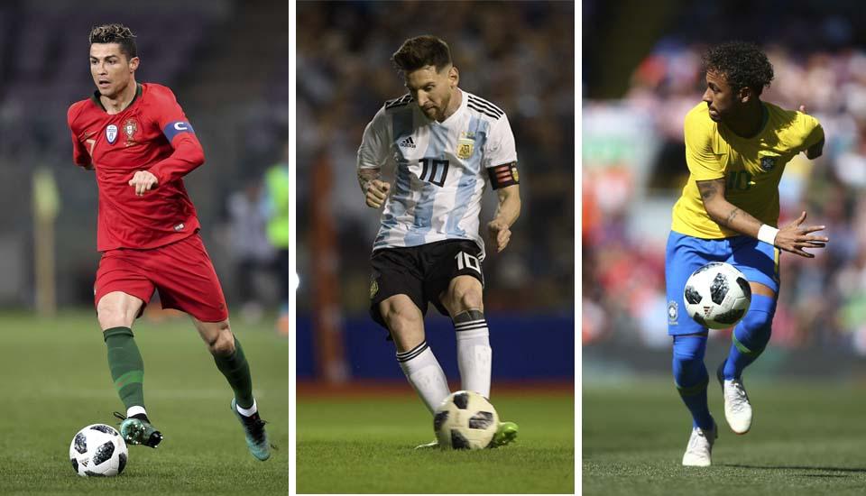 Роналдо, Месси, Неймар. Фото: AFP