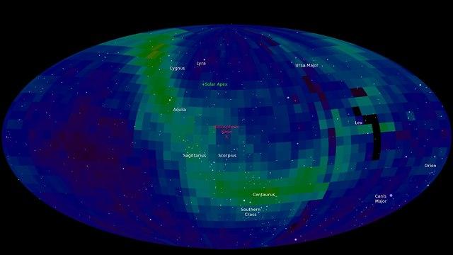 רמת אנרגיה גבוהה ברצועה צרה יחסית לאורך השמיים. רצועת אייבקס (מסומנת בירוק)  (צילום: נאס