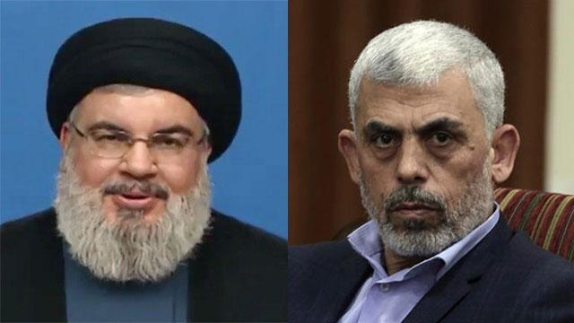 Le chef du Hezbollah Nasrallah; Le leader du Hamas Sinwar (Photos: AP)