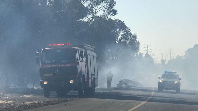 Fire near Nir Am (Photo: Israel Police)
