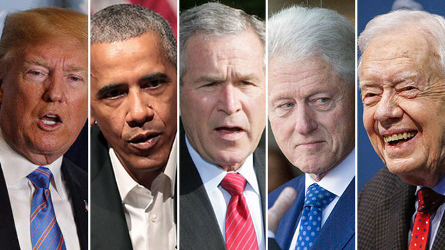 From left to Right: US Presidents Jimmy Carter, Bill Clinton, George W. Bush, Barack Obama and Donald Trump. Will the fifth succeed where four failed?  (Photos: EPA, AP, AFP)
