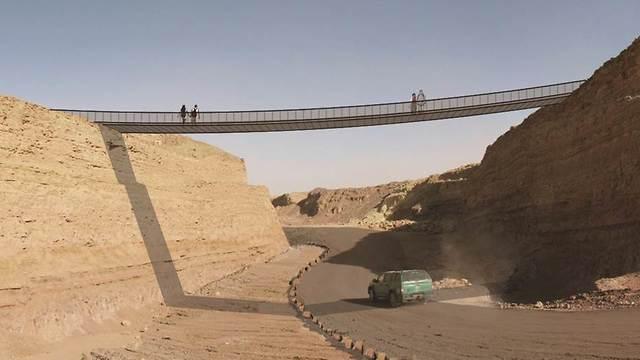 הדמיית גשר מטיילים מכתש רמון (הדמיה: ברוידא מעוז - אדריכלות נוף)