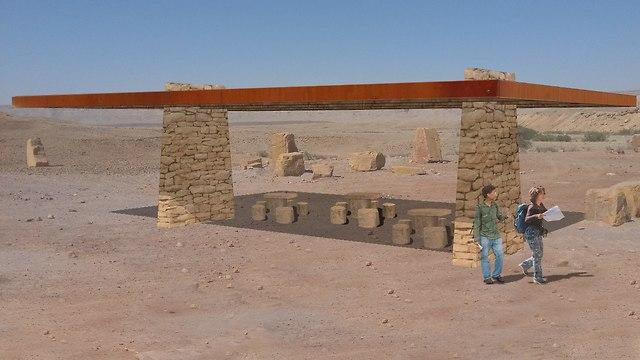 הדמיית פרגולת אבן ומתכת מכתש רמון (הדמיה: ברוידא מעוז - אדריכלות נוף)