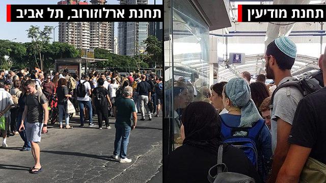 עומס בתחנת רכבת סבידור מרכז תל אביב (צילום: גילעד ששון, צילום: קרן סקריפקין)