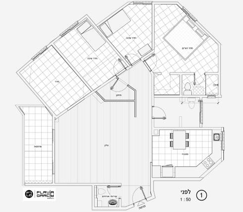 תוכנית הדירה לפני השיפוץ. מסגרת הבניין מכתיבה את סידור החדרים (תוכניות: פלביה גרסיה בן זאב)