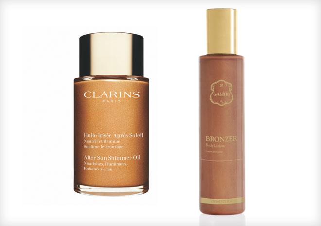 העור החשוף צריך תשומת לב מיוחדת בקיץ. שמן של ללין (מימין) וקלרינס