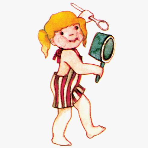 """""""גם אלית מופיעה עם כף וסיר, גם היא מצטרפת לתיפוף ולשיר""""  (צילום: הוצאת הקיבוץ המאוחד בע""""מ)"""