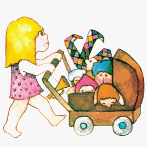 """""""פתאום באה שחף עם עגלת בובות, בעגלה עשרה תינוקות"""" (צילום: הוצאת הקיבוץ המאוחד בע""""מ)"""