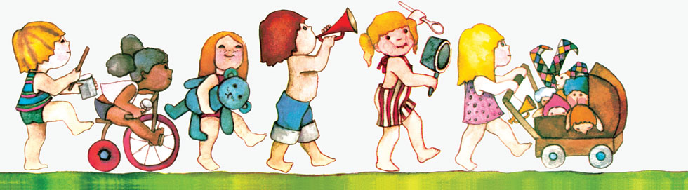 תהלוכת הילדים המככבת בספרה של מרים רות, ''תירס חם''. רות, מוותיקי שער הגולן, היתה בעברה גננת. את הדמויות איירה אורה איל (צילום: הוצאת הקיבוץ המאוחד)