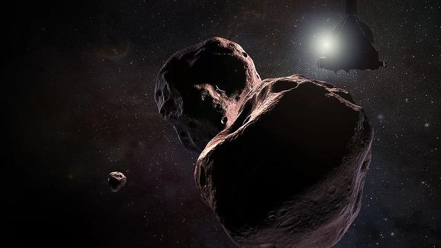 הדמיה של MU69 והגשושית ניו הוריזונס (הדמיה: נאס