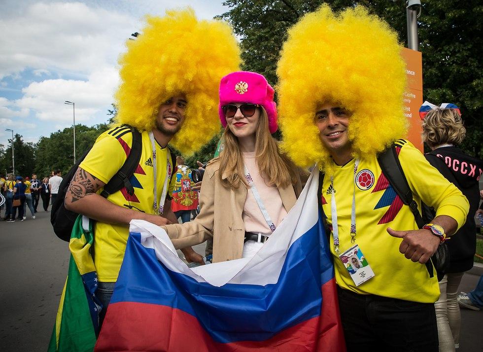 אוהדים ברוסיה (צילום: עוז מועלם)
