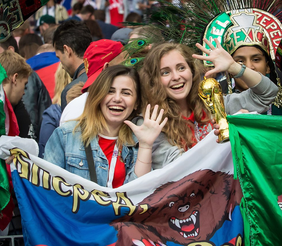 אוהדות רוסיות בלוז'ניקי (צילום: עוז מועלם)