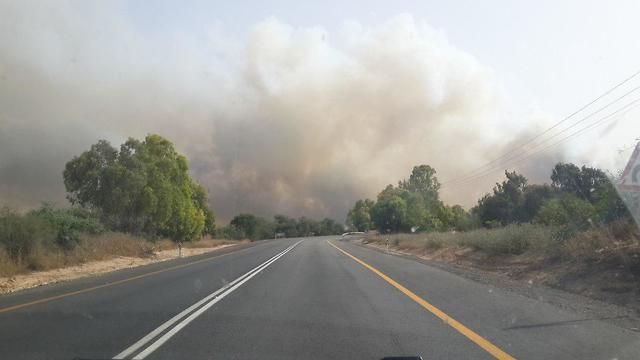 Incendie près du kibboutz Reim (Photo: Merav Mirotznik)