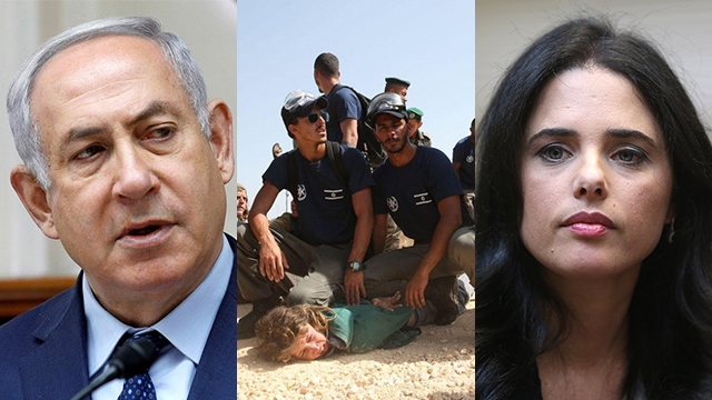 Netanyahu, Shaked and the clashes in Tapuach. A deafening silence  (Photos: Alex Kolomoisky, Ehud Amiton/TPS, Reuters)