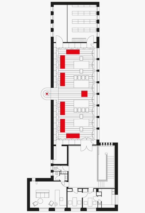 תוכנית רצפה של ספריית שוקן על פי תוכנית מקורית של אריך מנדלסון (1936)  (תוכניות: מיכאל גורדון)