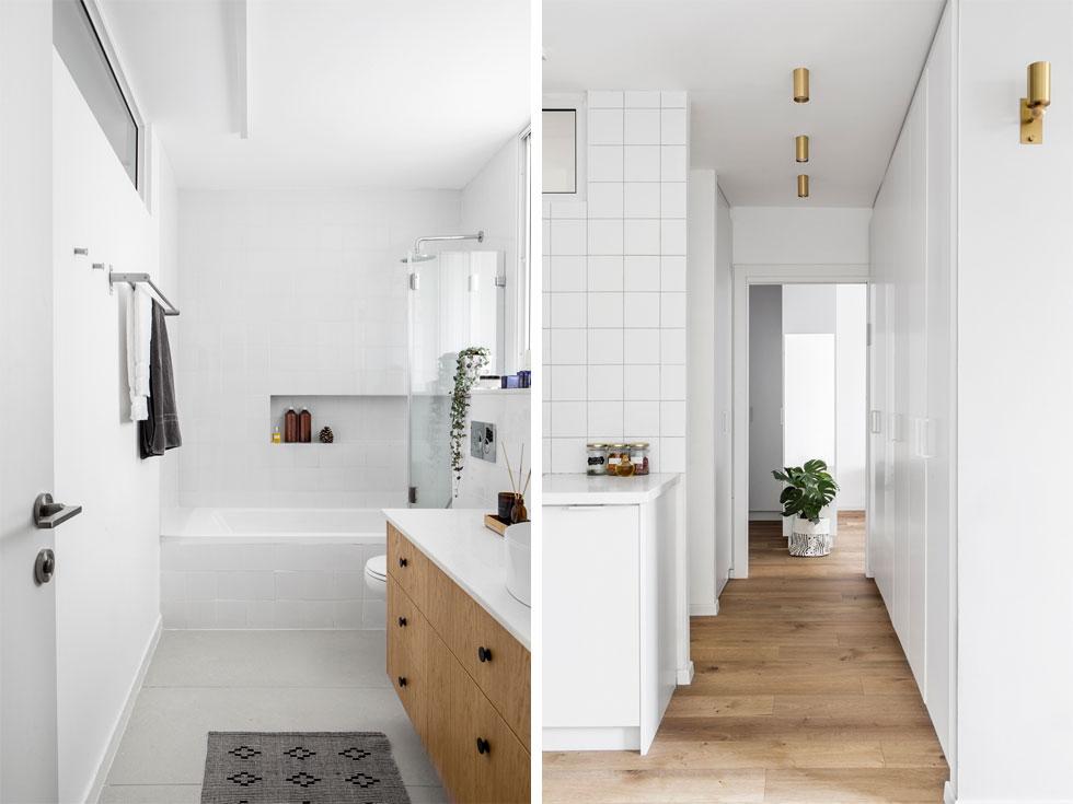 מימין: המסדרון בין הסלון לחדר ההורים. מימין ארון דו-צדדי, במקום קיר. משמאל: חדר הרחצה שנפתח אל המסדרון (צילום: איתי בנית)