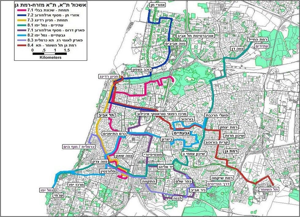 מפה מתווה אשכולות תל אביב ורמת גן (צילום: משרד התחבורה)
