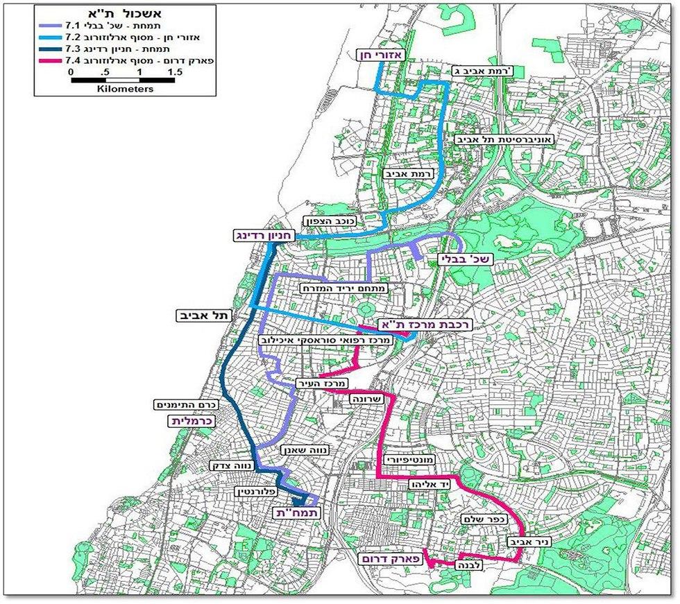 מפה מתווה אשכולות תל אביב (צילום: משרד התחבורה)
