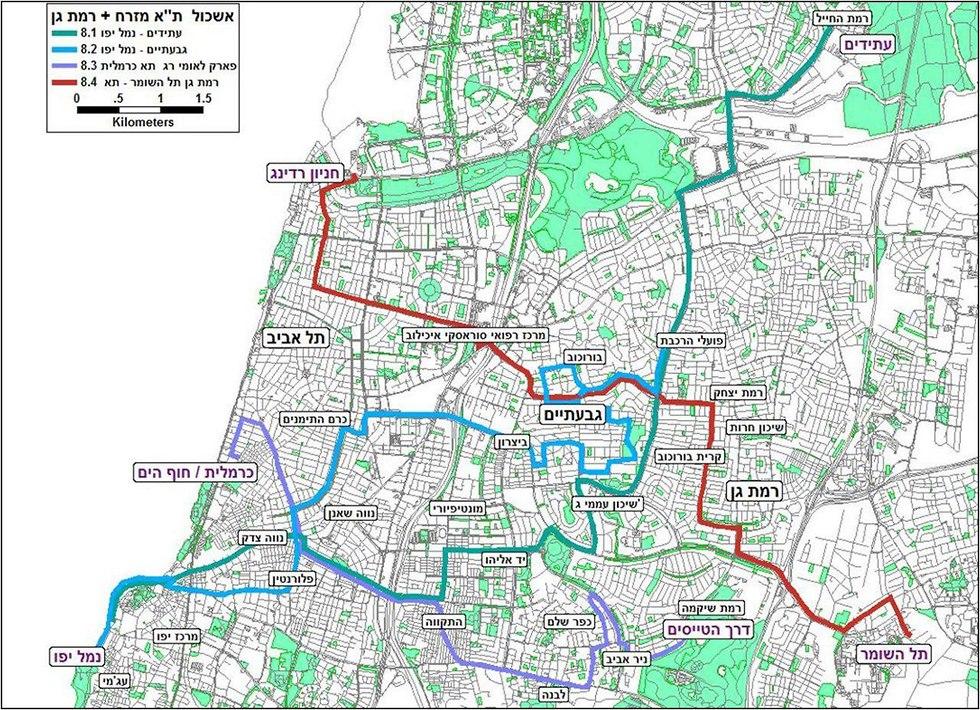 מפה מתווה אשכולות מזרח תל אביב ורמת גן (צילום: משרד התחבורה)