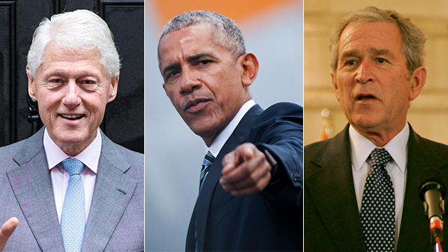 Former US President George W. Bush, Barack Obama and Bill Clinton  (Photo: Getty Images)