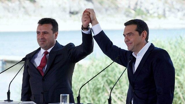 מקדוניה יוון הסכם שינוי שם של מקדוניה אלכסיס ציפרס זוראן זאב (צילום: EPA)