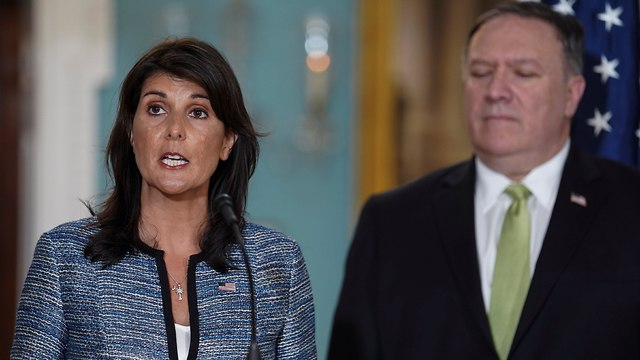 Haley with Secretary of State Mike Pompeo. 'The Human Rights Council is a poor defender of human rights' (Photo: Reuters)