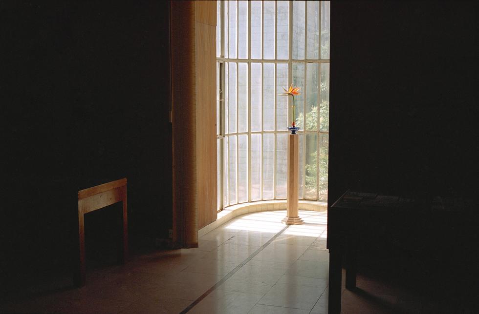 אחד הפסלים שמוצגים כעת בתערוכה הוא פרח ציפור גן עדן, במרפסת הזכוכית המעוגלת (צילום: מעיין אליקים)